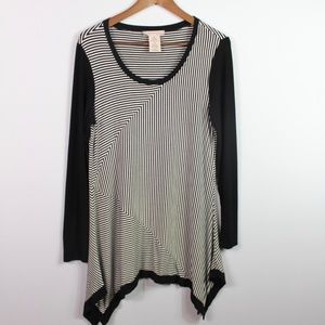 Philosophy Striped Tunic Size M Asymmetric Hem